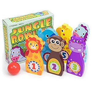 Jungle Bowling Game, Indoor/Outdoor Family Fun with 6 Wooden Zoo Animal Pins by Imagination Generation