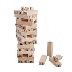 Baoblaze Wooden Tumble Tower Tumbling Block Stacking Game, Fun Building Blocks Toys Games for Adults & Kids, 51 Pieces with Dices