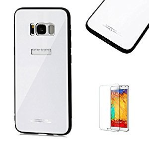 Funyye Tempered Shatterproof Glass Case for Samsung Galaxy S8 Plus,Premium Anti-Scratch Bumper and Back Protection Case for Samsung Galaxy S8 Plus,White Slim Fit Shockproof Non Slip Protective Case for Samsung Galaxy S8 Plus + 1 x Free Screen Protector
