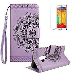Funyye Wallet Leather Case for Samsung Galaxy S9 Plus,Strap Magnetic Flip Cover for Samsung Galaxy S9 Plus,Retro Purple Mandala Flower Pattern Stand Soft Silicone PU Leather Case with Card Slots for Samsung Galaxy S9 Plus + 1 x Free Screen Protector