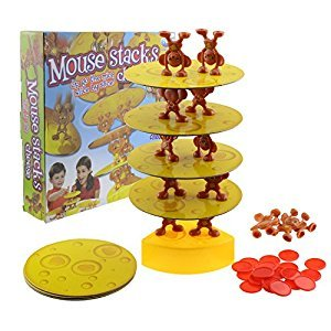 Tipmant Mouse Stacks Cheese Tower Interactive Game, Balancing Tumble Kids Toy, Developing Hand & Eye Coordination Stacking Games 2+ Players