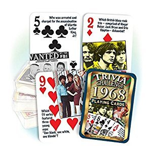 1968 Trivia Playing Cards: 49th Birthday or Anniversary Gift