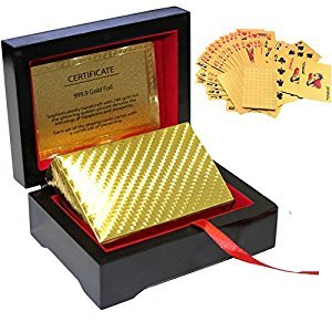 Bestmaple Waterproof 24K Gold Foil Playing Cards General Printing Tablet Card Games Pokers With Black Wooden Box