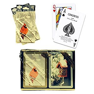 Bundle - 3 items: 1 Congress Playing Cards Cardinal Bridge (2 Decks), with 2 Packs (12 Each Pack) Tallies, Standard Index