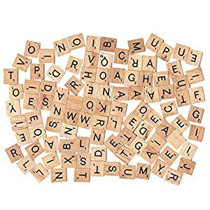 400pcs Wood Letters Scrabble Tiles,4 Complete Sets,Tile Games,Wood Pieces,Great for Crafts