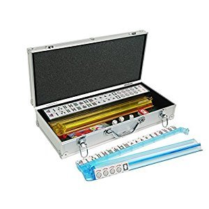 American Mahjong Set - 166 Premium White Tiles, All-in-One Rack/Pushers, Silver Aluminum Case | Comes with Rules Book