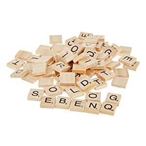 Dovewill Set of 100PCS Wooden Scrabble Letter Tiles Crafting Accessory Kids Educational Board Games Fun Toy Gift