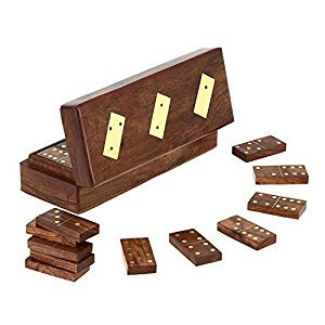 Handmade Wooden Domino Tile Game in Storage Box - Complete Game Set - 8