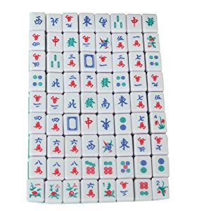 Mini 144 Mahjong Tile Set Travel Board Game Chinese Traditional Mahjong Games, Portable Size and Light-weight