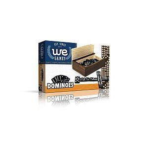 WE Games Double 6 Black Dominoes with White Dots in Wooden Case