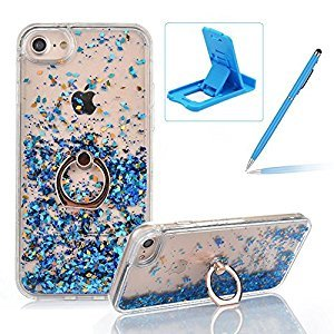 Hard Case for iPhone 7,Plastic Glitter Case for iPhone 8,Herzzer Luxury 3D Creative Design Blue Liquid Quicksand Sparkly Crystal Clear Protective Skin Back Case with 360 Degree Ring Holder for iPhone 7/iPhone 8 4.7 inch + 1 x Free Blue Cellphone Kickstand