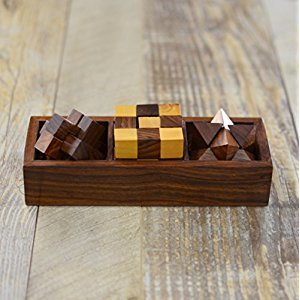 Rusticity Wooden Puzzle Games Set of 3 - Twister Snake Cube, Interlocking Star Cube and Interlocking Bar Puzzle   Handmade