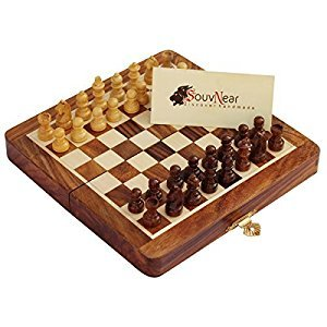 SouvNear 7 X 7 Inch Wood Magnetic Travel Chess Set