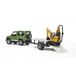 Bruder Land Rover Defender, Rigid Drawbar Trailer, Jcb Micro Excavator and Construction Worker