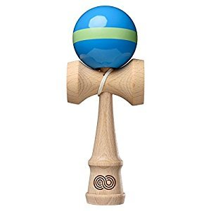 Kendama USA - Kaizen - Single Stripe - Aqua Blue & Lime Green - Gloss