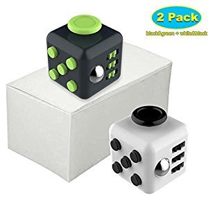 Hualite Fidget Cube Dice Stress Relief and Anxiety for Adults and Children Boredom, 6-Side Anti-Anxiety Focus Toy Gift, (Green+Black)