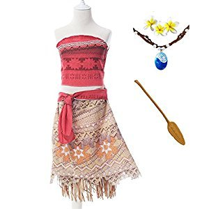 ROMASA 4.59FT SKIRT Moana Girls Adventure Outfit Cosplay Costume Skirt Set with Necklace&flower (4.59FT)