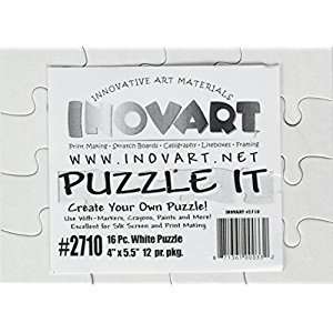 Inovart Puzzle-It 16-Piece Blank Puzzle, 12 Puzzles Per Package, 4