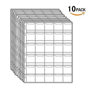 Stamp Pocket Pages Plastic Coin Holders Stamp Currency Protector Coin Collecting Supplies 10 Sheets