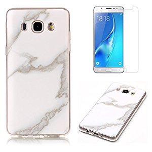 For Samsung Galaxy J3 2016 J320 Marble Case with Screen Protector ,OYIME Creative Glossy White Marble Pattern Design Protective Bumper Soft Silicone Slim Thin Rubber Luxury Shockproof Cover