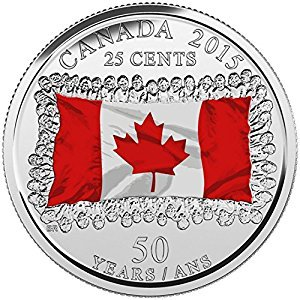 1- 2015 25 cent Coloured Canadian Flag Canada