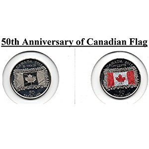 2015 25 cent SET 50th Anniversay Canadian Flag Canada (2 coins) Color and Non Coloured