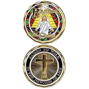 Jesus Christ Stained Glass Bible Religious Baptism w/ Cross - Good Luck Double Sided Collectible Challenge Pewter Coin