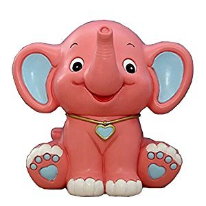 Lovely Animal Piggy Bank Coin Holder Coin Collecting Box Elephant Pink