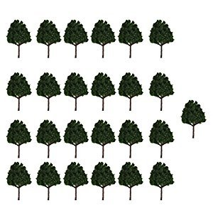 25pcs Miniature Plastic Trees for Model Railways N Scale Train Layouts 1:150