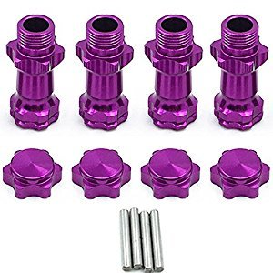 1Set Aluminum 17mm Wheel Hex Hub Extension Adapter 30mm for 1/8 RC Model Car Purple