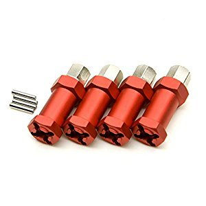 Jack-Store 4 psc Aluminum Alloy 12mm Wheel Hub Hex Drive Adaptor +25mm Offset for SCX10 WRAITH 1/10 RC Rock Crawler Red