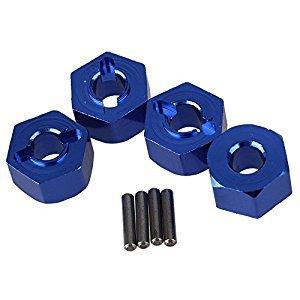 Mxfans 4pcs Aluminum Alloy 12x7mm Mount Wheel Hex Hub SLA016 Dark Blue Fits for TRAXXAS SLASH 4x4& HQ 727 Short Truck