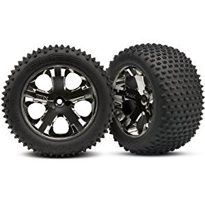 Traxxas 3770A Alias 2.8-Inch Pin Tires Assembled on All-Star Black-Chrome Wheels