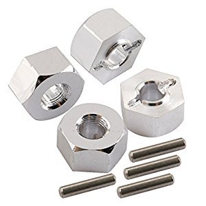 Yiguo 7mm Thickness 12mm Hex Wheel Mount Nuts +Pin for RC 1/10 Traxxas Slash 4X4 Silver Set of 4
