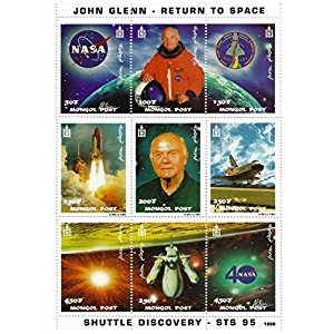 John Glenn return to space souvenir stamp sheet featuring the Shuttle Discovery - STS 95 / Mongolia / 1998 / Mint and unmounted