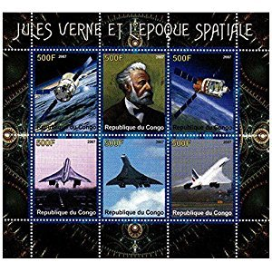 Space stamps for collectors - Jules Verne, Space and Concorde - 6 Themed stamps ideal for collecting - superb condition - Mint NH