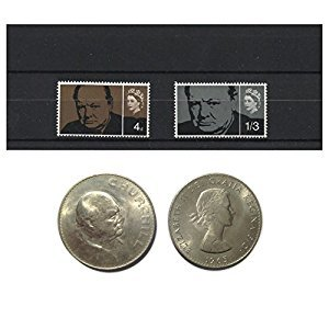 Stamps and Coins for Collectors - 1965 Winston Churchill Commemorative MNH and UNC stamp and coin set / Great Britain SG661 - 661A