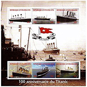 Titanic stamps - Stamp sheet celebrating the RMS Titanic - Mint and never mounted stamp sheet with 6 stamps