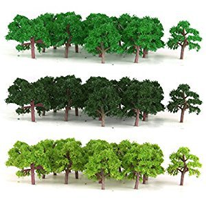 MonkeyJack 75PCS Model Trees Train Railroad Diorama Wargame Park Scenery Scale 1:300