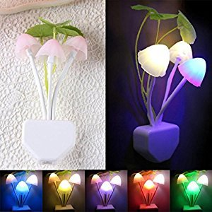 Changeshopping Romantic Colorful Sensor LED Mushroom Night Light Wall Lamp Home Decor