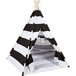 DalosDream Indoor Black Striped Indian Playhouse Toy Teepee for Kids