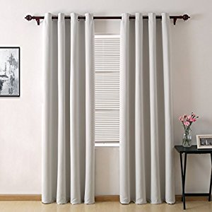 Deconovo Room Darkening Thermal Insulated Blackout Grommet Window Curtain Panel For Living Room, Star White, 52x84 Inch