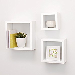 Kiera Grace Cubbi Contemporary Floating Wall Shelves, 5 by 5 Inch , 7 by 7 Inch , 9 by 9 Inch , White, Set of 3