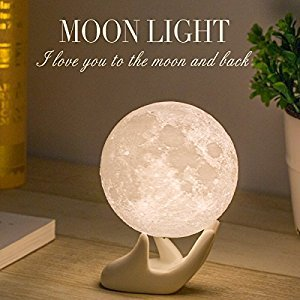 Mydethun Moon Light Night Light for Kid Gift for Women USB Charging and Touch Control Brightness Two Tone Warm and Cool White Lunar Lamp (3.5IN)