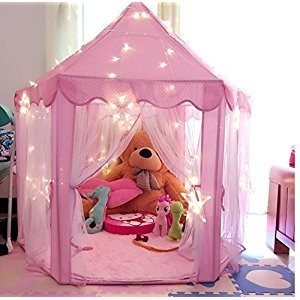 Pink Princess Castle Kids Play Tent Children Playhouse, Great Christmas Gifts for 1-10 Years old Kids Toys, Indoor and Outdoor Use ,55-Inch Diameter x 53-Inch Height (LED Light Not Include)