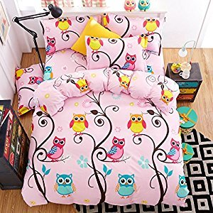 4pcs Bedding Set No Comforter Duvet Cover Set 100% Combed Cotton Flat Sheet Duvet Cover PillowCase Twin Full Queen Human Friend Owl Designs (Happy Owl, Pink, Twin, 60