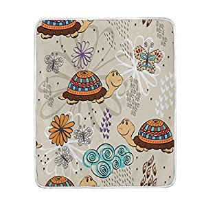 ALAZA Cute Turtle with Butterfly Flower Blanket Soft Warm Cozy Bed Couch Lightweight Polyester Microfiber Blanket Throw Size 50