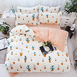 Beddingset Duvet Cover Set Duvet Cover No Comforter Flat Sheet Two Pillowcases 4pcs Children Cactus Circle Point Life Style Design KSN Twin Full Queen Size (Cactus, Pink, Twin,59