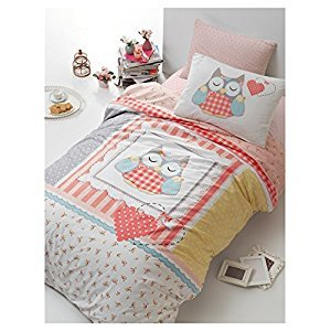 Bekata Lu Lu, 100% Cotton Girls Bedding Set, Hearts and Owl Themed Quilt/Duvet Cover Set with Fitted Sheet, Single/Twin Size, (3 PCS)