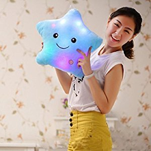 Shensee Star Shaped Glowing LED Pillow 7 Color Changing Light Up Soft Cushion (Blue)